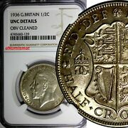 Great Britain George V Silver 1936 1/2 Crown Ngc Unc Details Last Year Km 835