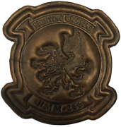 4.5 Marine Corps Hmm-266 Fighting Griffins Antique Painted Leather Jacket Patch