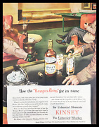 1945 Kinsey The Unhurried Blended Whiskey Vintage Print Ad