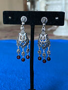 Vintage Marcasite 925 Chandalier Earrins With Garnet Beads