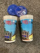 Vintage 1993 Hardees Taste The Frisco Cup 100 Original Lot Of 2 With Lids