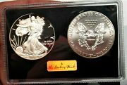 Danbury Mint 2012-w Proof American Silver Eagle And 2012 Bright Uncirculated Eagl