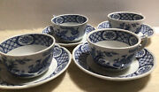 Old Chelsea Furnivals 4tea Cups And 4 Saucers Blue/white Vintage Birds England
