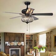 52 Inch Farmhouse Chandelier Ceiling Fans With Pull Chain Living Room Decoration