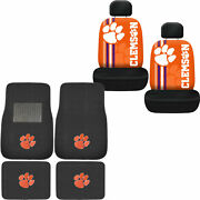 New 6pc Ncaa Clemson Tigers Car Truck Front Back Floor Mats And Seat Covers Set