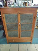 Antique Wood Pie Safe Cabinet 12 Punched Tin Panels And Drawer Country Primitive