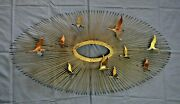 Curtis Jere Style Mcm Brutalist Over The Sun 10 Geese Flying Metal Wall Hanging