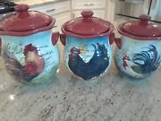 Susan Winget Certified International Le Rooster Canisters Set Of 3