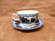 Flow Blue Normandy Cup And Saucer 3.5 And 6 England Ec Minty T354