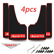 4x Car Fender Mud Flaps Mudguards Black+red Rubber For Car Suv Universal Us Ship