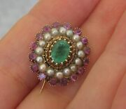 6200 Antique Early 19th Century Natural Emerald Ruby 18k Yellow Gold Brooch