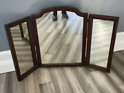 Antique Wood Trifold Mirror