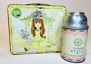 Vintage 1956 Junior Miss Metal Aladdin Lunchbox W/ Thermo Cup Missing Lid And Cap