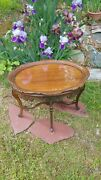 Glass Top Used A Tray Removeable Wood Accent Table Great For Serving