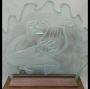 Rare Vintage Signed Herman Perlman Etched Glass Art Lighted Display Stand Lamp