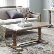 Classic Wood Coffee Table Pedestal Legs Vintage Accent Living Room Furniture