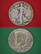 Make Offer 25.00 Face Value Walking Liberty 1964 Kennedy Half Dollars Silver