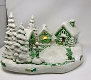 Vintage Ceramic Hand-painted Scioto Mold Christmas Village With Lights 1980's