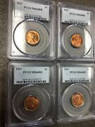 Lot Of 4 Coins - 1937 P U.s. Lincoln Wheat Cents Penny Pcgs Ms66rd