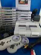 Snes Super Nintendo Entertainment System Lot 14 Games 2 Controllers + Cords Look