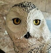 Snowy Owl Sculpture From Hand Carved Cedarwood On Manzanita Branch 31 Tall