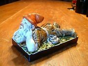 Very Rare Antique 19thc Gnome Majolica Pottery Paperweight