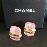 Auth Vintage Pink Gripoix Gold Letter Plate Clip On Earrings Used Japan