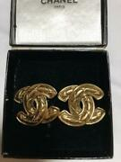 Auth Vintage Matelasse Cc Logo Gold Clip On Earrings Used Form Japan F/s