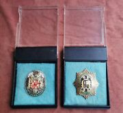 Set 2 Badges Plaquette Spanish Police General Direction Of Security Copy