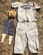 Antique Baseball Uniform Rochester Tigers And Charles Red Ruffing Glove As Found