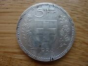 1923 Large Crown Size Switzerland 5 Franc Silver Coin 25 Grams Ref10g