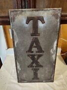 Vintage Taxi Metal Sign 22 X 12 Man Cave Wall Collectible