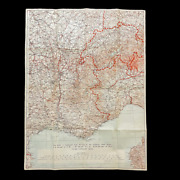 Wwii Rare Field Printed 1944 Operation Dragoon Southern France Allied D-day Map