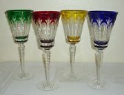 4 Faberge Ajka Crystal Cut To Clear Grand Palais Royal Water Goblet Wine Glasses