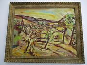Large Vintage Taxco Mexico Oil Painting Mystery Impressionist Town View 1950and039s