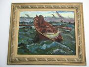 Large Vintage Nautical Oil Painting Mystery Impressionist Fisherman Sea 1950and039s