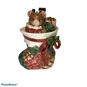 Fitz And Floyd Christmas Quilt Stocking Cookie Jar- 19/865