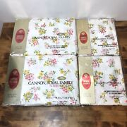 Vintage Full Set Of Cannon Royal Family Sheets Bouquet 6pc White, Pink Flowers