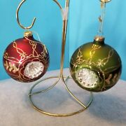 2 Vtg Dept 56 Hand Decorated Round Double Indent Glass Christmas Ornaments - 3andfrac12