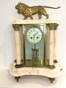 19th Century Antique French Marble And Ormolu Mantle Clock With Mercury Pendulum