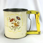 Vintage Androck Hand-i-sift Flour Sifter Colorful 3 Screen Yellow Flowers White