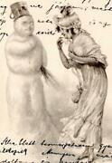 Gorgeous Early 1900's Snowman And Woman Hungarian Artistic Postcard Levelezo-lap