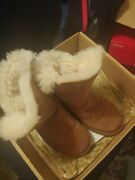 Ugg Uggs Womens Size 7 Bailey Mid Button Tan Shearling Boots 5803