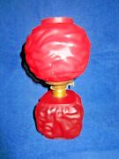 Antique Miniature Gone With The Wind Red Glass Table Kerosene Or Oil Lamp