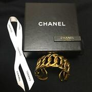 Auth Gold Chain Link Cuff Bracelet Used From Japan F/s