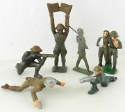 Barclay Manoil 6 Piece 1930's Lead Metal Toy Army War Soldier Figure Lot F22