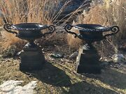 Pair Of Antique Cast Iron Urns Planters With Handles + Risers 35 3/4 Tall