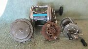 Lot Of 4 Vintage Fishing Reels Olympic Pflueger Shakespeare 1 Unknown Used