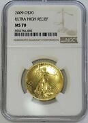 2009 Gold 20 Ultra High Relief Uhr Ngc Mint State 70