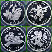 2014 The Rise And Fall Of The Bankster Proof 4 Round Set Silver Shield Group Ssg